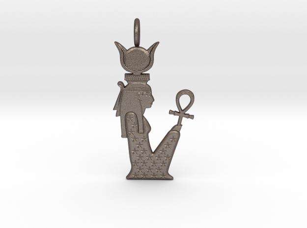 Hethert-Nut amulet in Polished Bronzed-Silver Steel