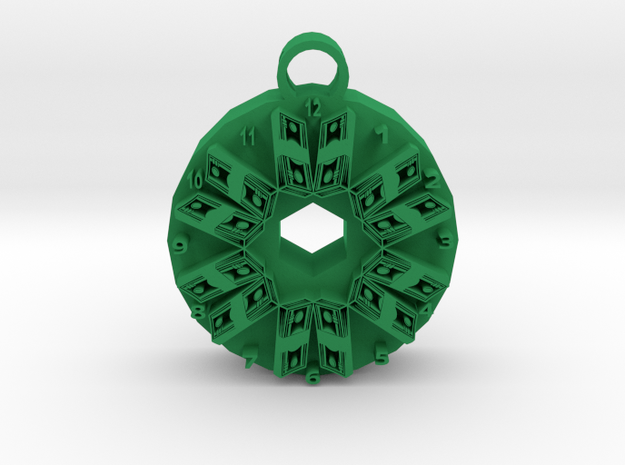 time is money pendant 2 in Green Processed Versatile Plastic
