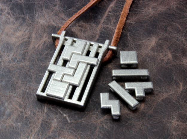 Tetrominoes Puzzle Pendant 3d printed This material is Polished Nickel Steel