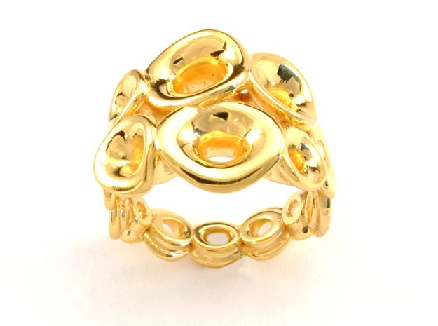 Mo-at size Double Ring in 18k Gold Plated Brass: 6.5 / 52.75