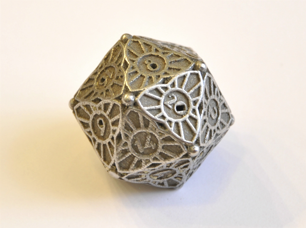 D20 Balanced - Art Deco in Polished Bronzed Silver Steel