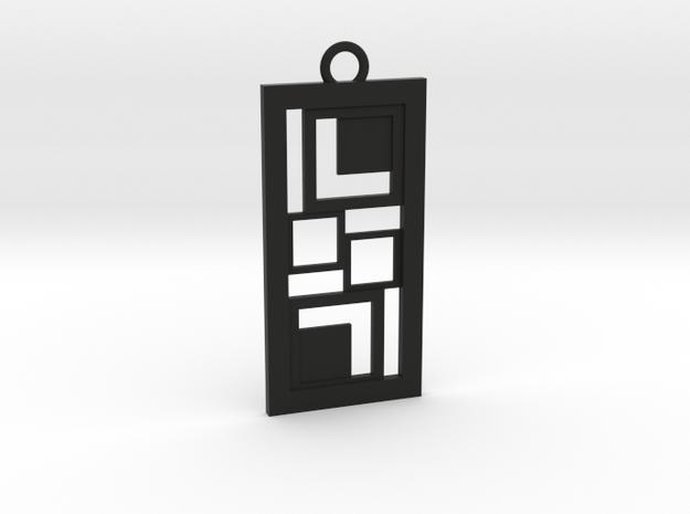 Geometrical pendant no.3 in Black Natural Versatile Plastic: Medium