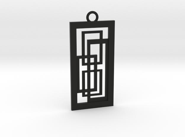 Geometrical pendant no.2 in Black Natural Versatile Plastic: Medium