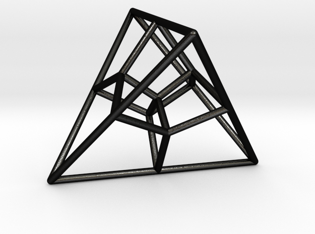 Tetrahedral Tesseract in Matte Black Steel