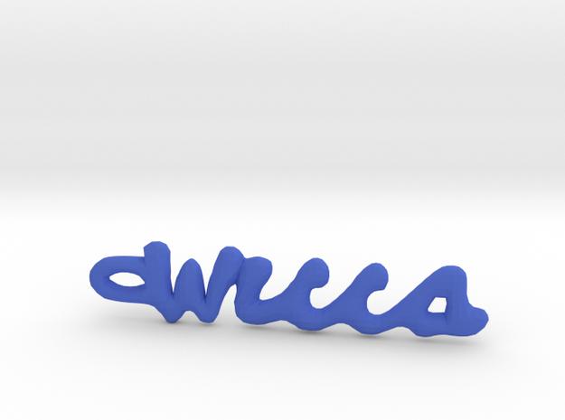 "Vertical ""Wicca"" Word Pendant in Plastic in Blue Processed Versatile Plastic"