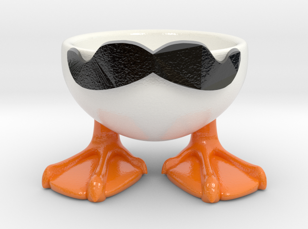 MOUSTACHE DUCK EGGCUP in Glossy Full Color Sandstone