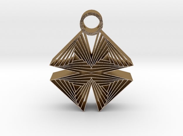 Triangle X pendant in Polished Gold Steel