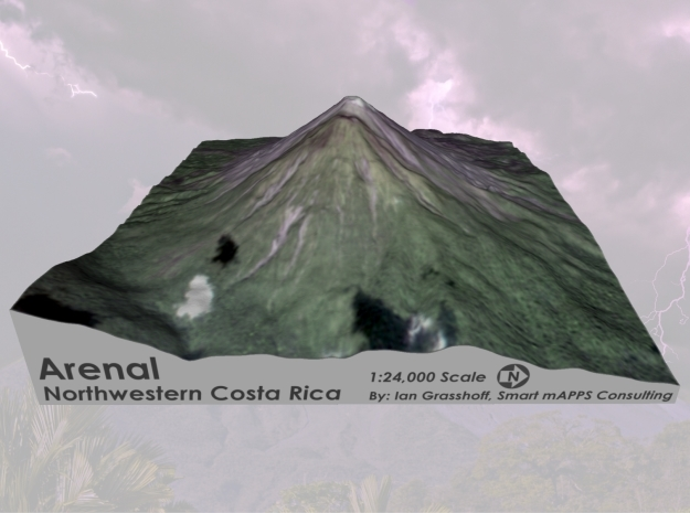 "Arenal Volcano, Costa Rica: 6"" in Matte Full Color Sandstone"