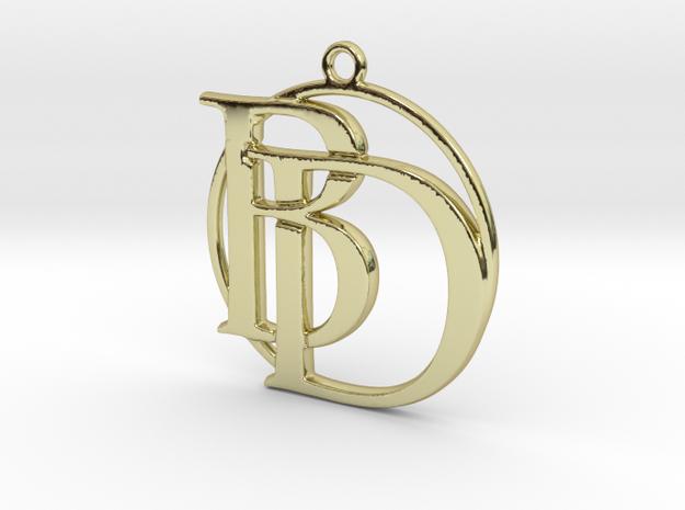 Initials B&D monogram in 18k Gold Plated Brass