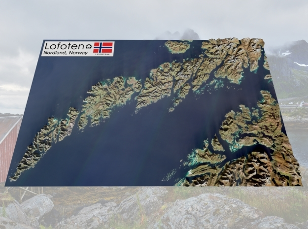 "Lofoten, Norway Map: 8.5""x14"" in Matte Full Color Sandstone"