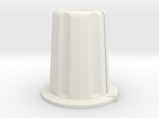 16mm rotary control knob (6mm shaft) in White Natural Versatile Plastic