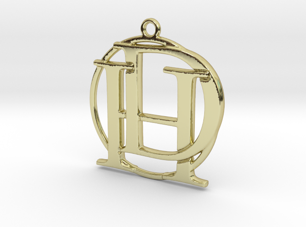 Initials D&H and circle monogram in 18k Gold Plated Brass