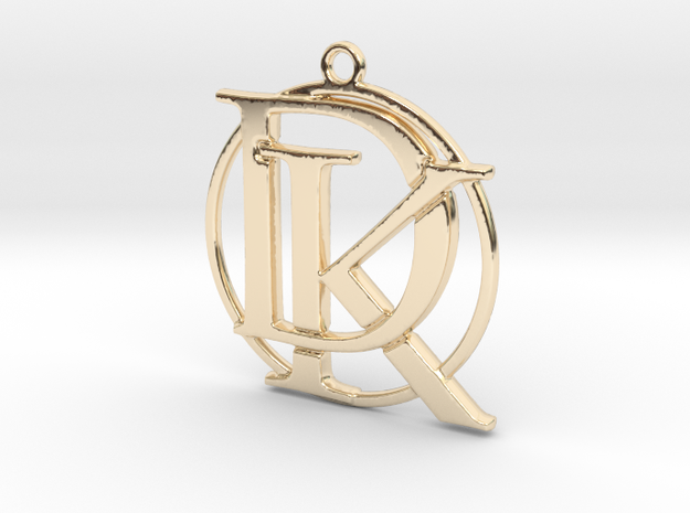 Initials D&K and circle monogram in 14k Gold Plated Brass