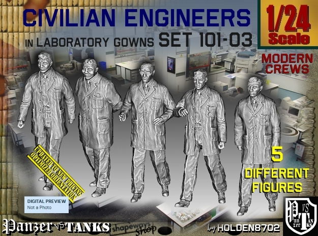 1/24 Engineers Set101-03 in White Natural Versatile Plastic