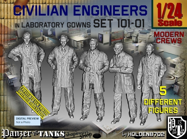 1/24 Engineers Set101-01 in White Natural Versatile Plastic