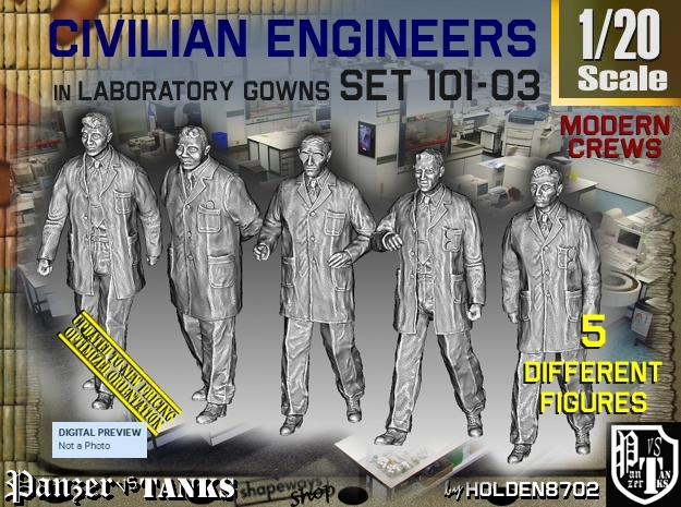1/20 Engineers Set101-03 in White Natural Versatile Plastic