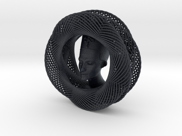 Celtic Knot Curve Art + Nefertiti (001a) in Black PA12