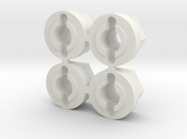 10mm hex adaptor for tamiya pin hubs in White Natural Versatile Plastic