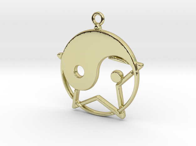 Yin-Yang and star intertwined in 18k Gold Plated Brass