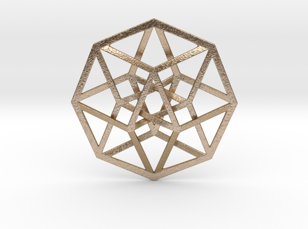 4D Hypercube (Tesseract) in Polished Gold Steel