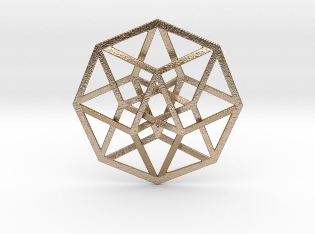 4D Hypercube (Tesseract) in Polished Gold Steel