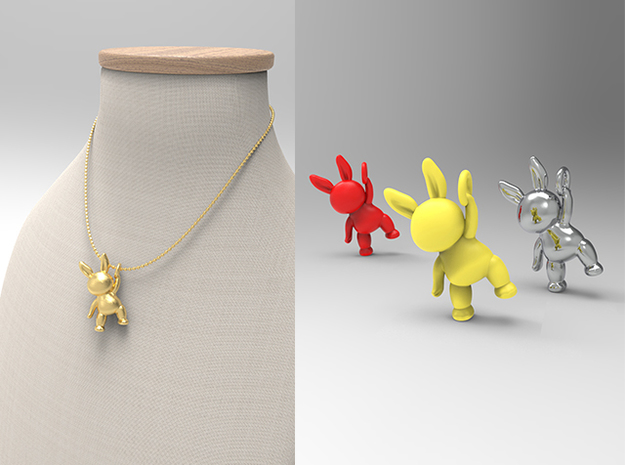 Rabbit Pendant ( 32mm ) in Polished Brass