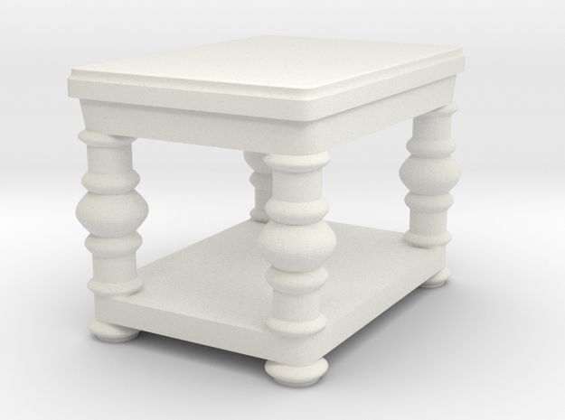fancy end table v2 in White Natural Versatile Plastic