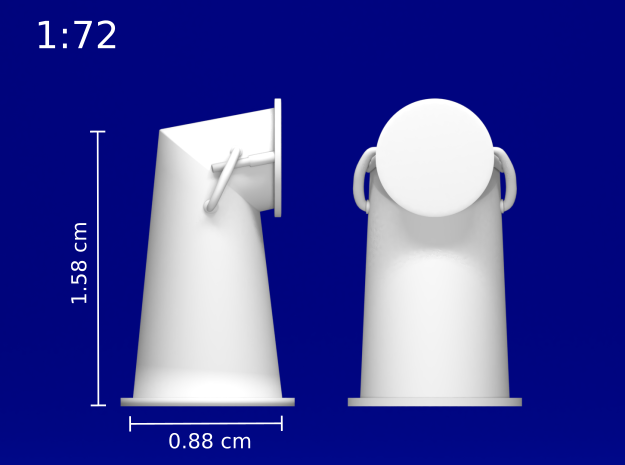 1:78 HMS Victory Chimney Cowl in Smoothest Fine Detail Plastic