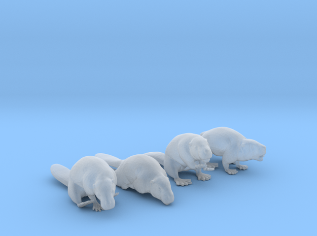 Beaver Set of 4 Poses in Smooth Fine Detail Plastic: 1:64 - S