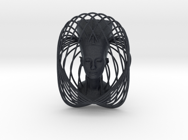 Wire Curve Art + Nefertiti (003b) in Black PA12