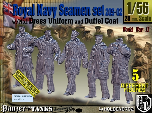 1/56 Royal Navy Seamen DC+No1 Set205-02 in Smooth Fine Detail Plastic