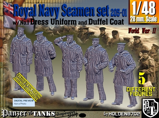 1/48 Royal Navy Seamen DC+No1 Set205-01 in Smooth Fine Detail Plastic