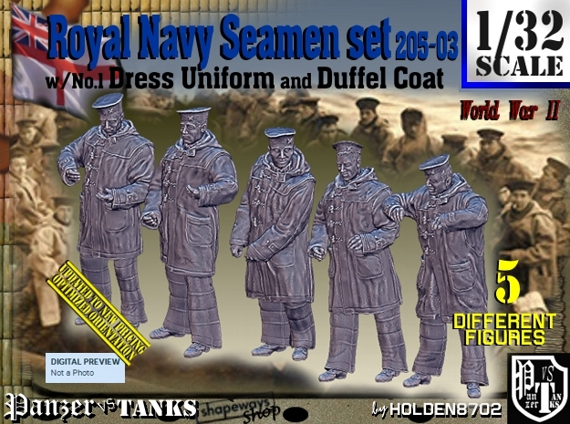 1/32 Royal Navy Seamen DC+No1 Set205-03 in Smooth Fine Detail Plastic