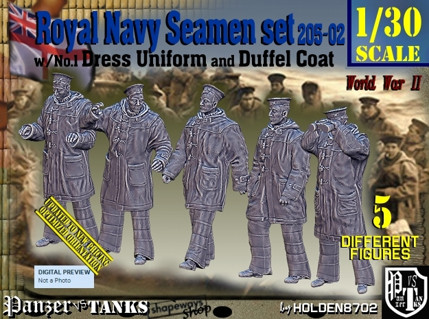 1/30 Royal Navy Seamen DC+No1 Set205-02 in White Natural Versatile Plastic