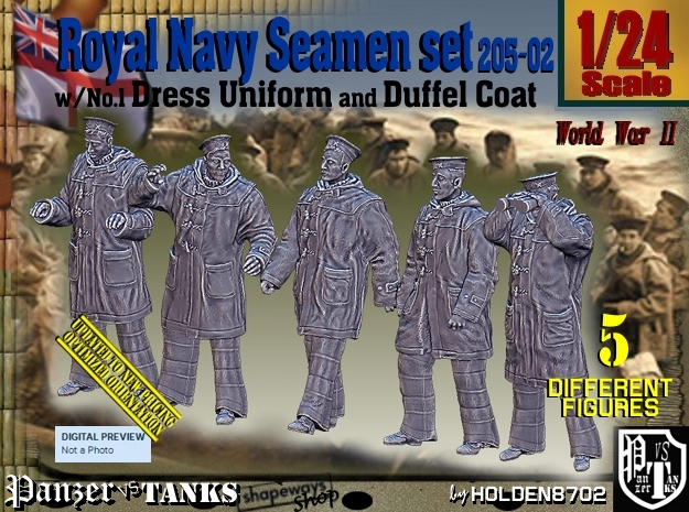 1/24 Royal Navy Seamen DC+No1 Set205-02 in White Natural Versatile Plastic