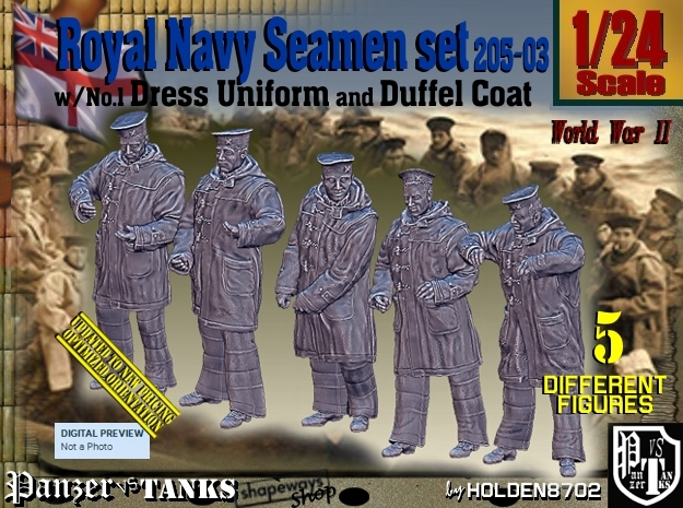 1/24 Royal Navy Seamen DC+No1 Set205-03 in White Natural Versatile Plastic
