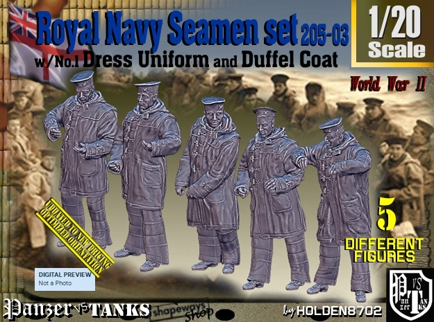 1/20 Royal Navy Seamen DC+No1 Set205-03 in White Natural Versatile Plastic