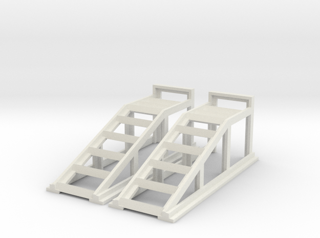 RC Garage 4WD Truck Car Ramps 1:24 Scale in White Natural Versatile Plastic