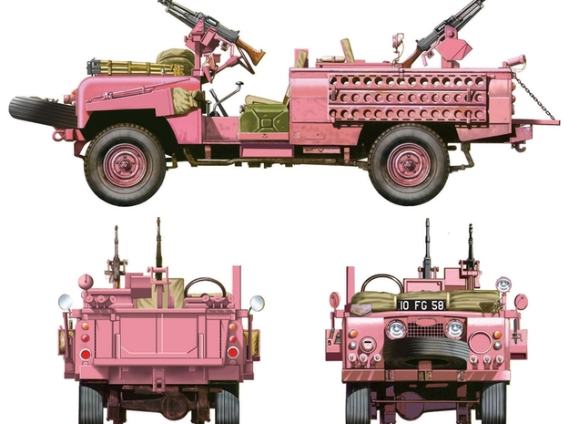 "Sand ladder 130mm/5.1"" Land rover SAS Pink Panther in White Natural Versatile Plastic"