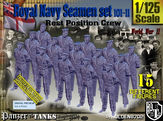 1/125 RN Seamen Rest Set101-11 in Smooth Fine Detail Plastic