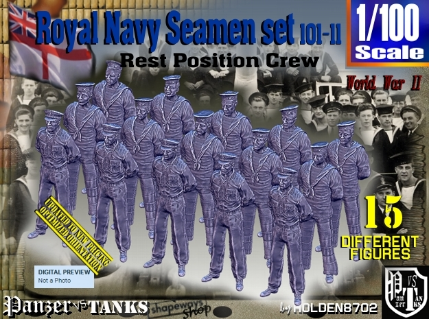 1/100 RN Seamen Rest Set101-11 in Smooth Fine Detail Plastic