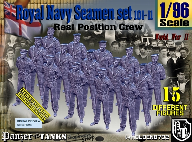 1/96 RN Seamen Rest Set101-11 in Smooth Fine Detail Plastic