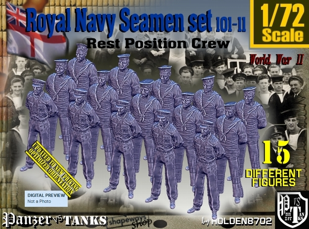 1/72 RN Seamen Rest Set101-11 in Smooth Fine Detail Plastic