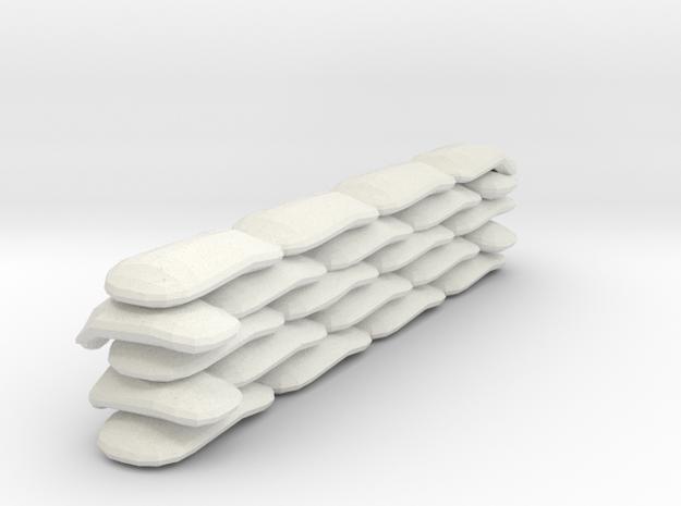 Sandbags Wall Miniature (28mm Scale) in White Natural Versatile Plastic