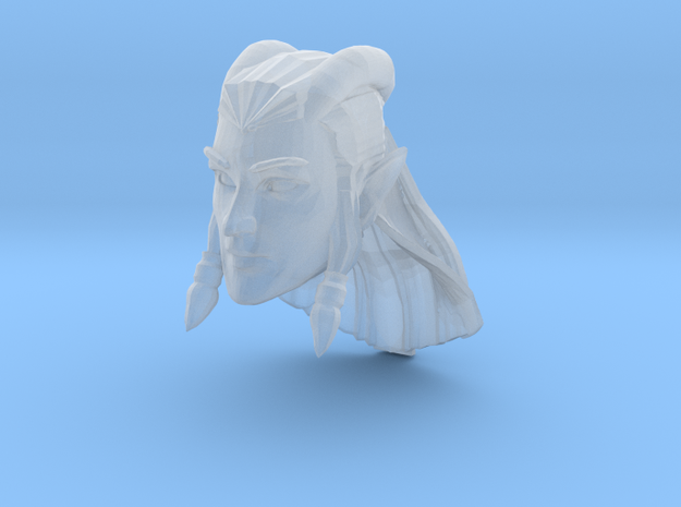 Lunar Elf - horned with long hair in Smooth Fine Detail Plastic