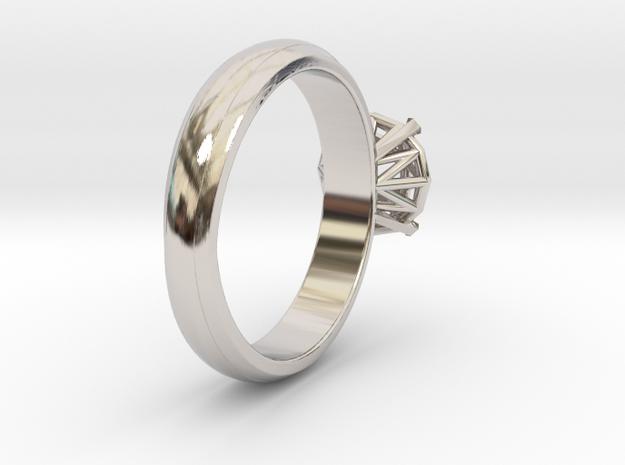 Frame diamond Ring in Rhodium Plated Brass: 7.5 / 55.5