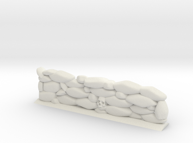 Stone Wall with Skull Head (28mm Scale Miniature) in White Natural Versatile Plastic
