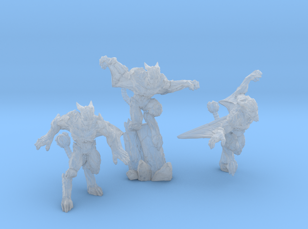 Gargoyles - Complete Set - 3 Miniatures 28/30mm Sc in Smoothest Fine Detail Plastic