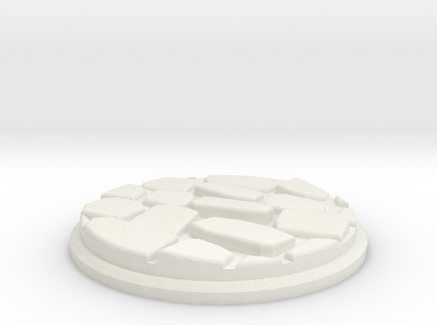 Uneven Cobblestone Miniature Base Plate (50mm) in White Natural Versatile Plastic