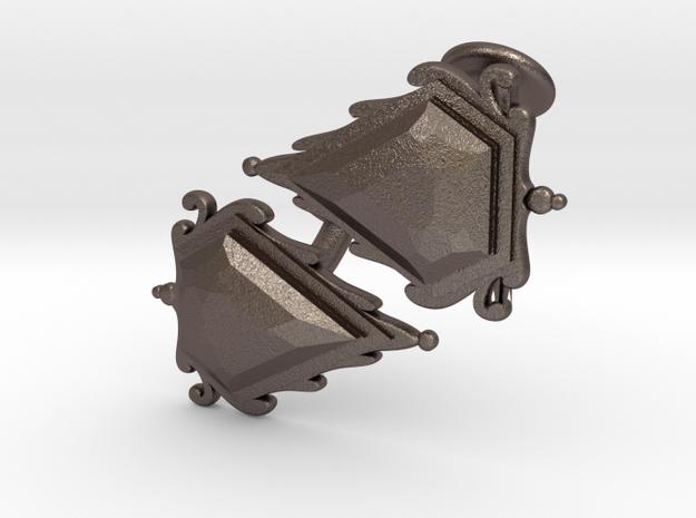 Cufflinks Mox Saphire v01 in Polished Bronzed-Silver Steel